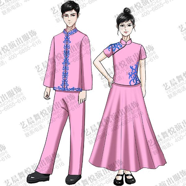 中式演出服装儿童合唱粉红色合唱演出服装!