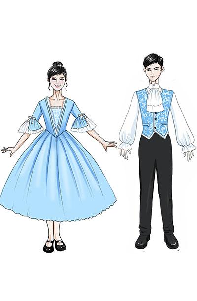 校园男款儿童演出服装青色花纹马甲衬衫合唱服装设计