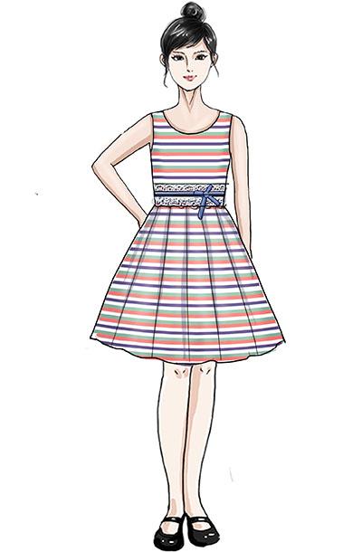 校园儿童条纹演出服装女子合唱百褶裙舞台服装定制!