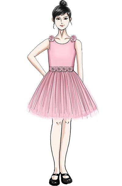 校园合唱演出服装女子粉色纱裙合唱服定制!
