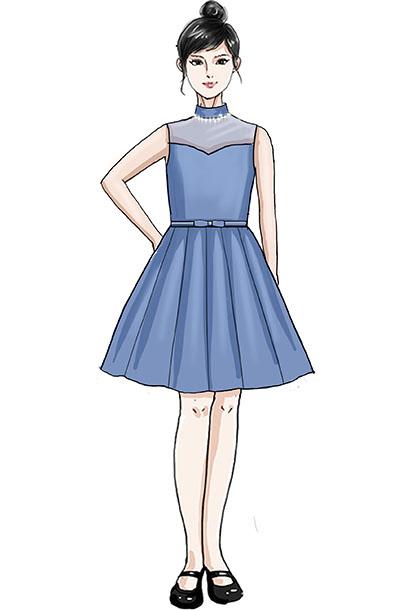 校园合唱演出服装蓝色女子无袖合唱服定制手!