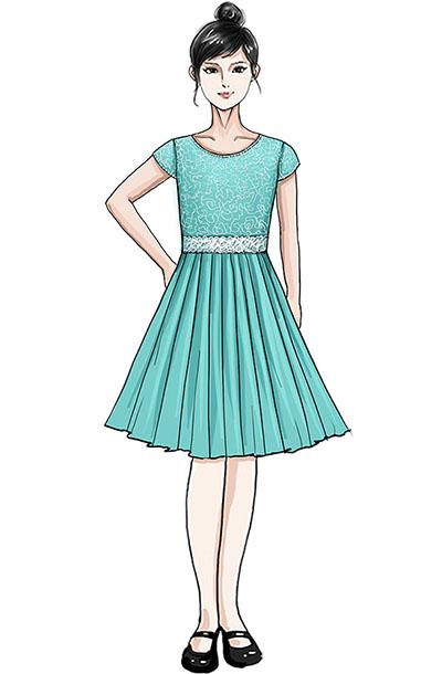 校园合唱服定制款式女子水青色合唱服定制