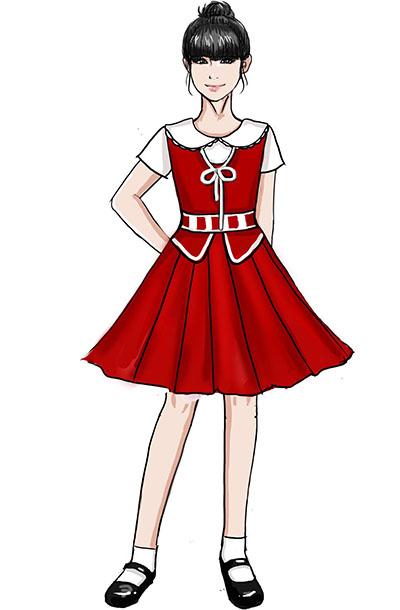 新款校园合唱演出服装儿童红色合唱服设计