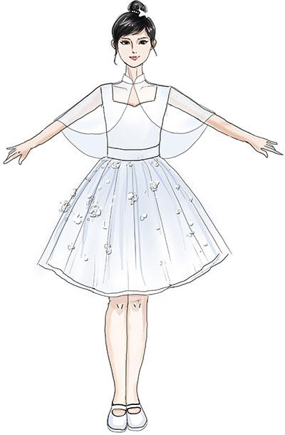 校园儿童合唱演出服装女子点钻合唱演出纱裙定制!