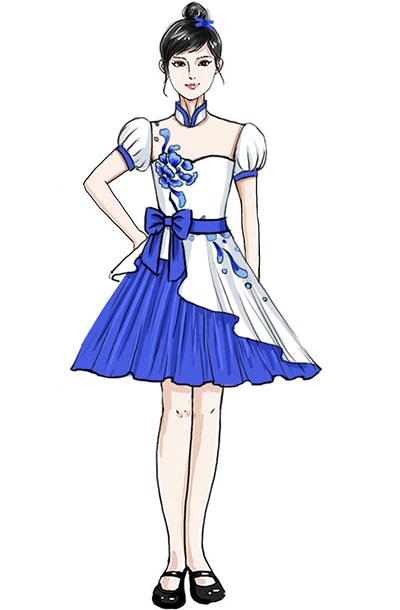 中式蓬肩青花合唱演出服装定制设计!