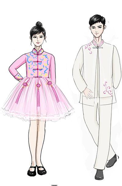 校园合成演出服装儿童中式合唱礼服设计!