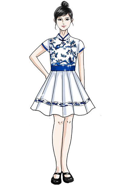 合唱服儿童演出服装定制花鸟纹礼服设计!
