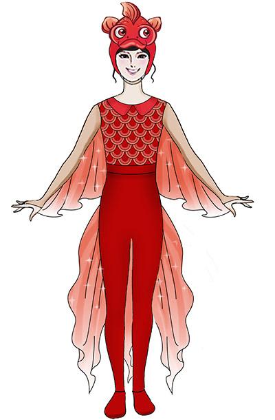 大型舞台演出节目吉祥鱼演出服装定制款式