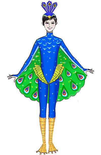 大型舞台演出节目开屏孔雀演出服装定制款式