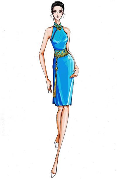 中式新款舞台演出礼服设计藏青色无袖演出短裙礼服设计!