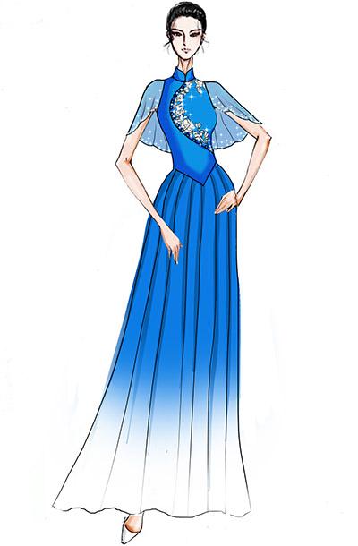 歌舞演出服装舞台礼服设计新款中式表演服装设计!