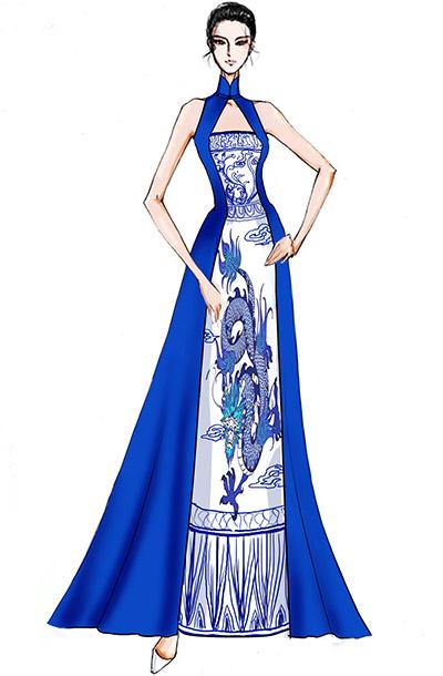 中式舞台演出服装蓝色青花礼服设计与定制!