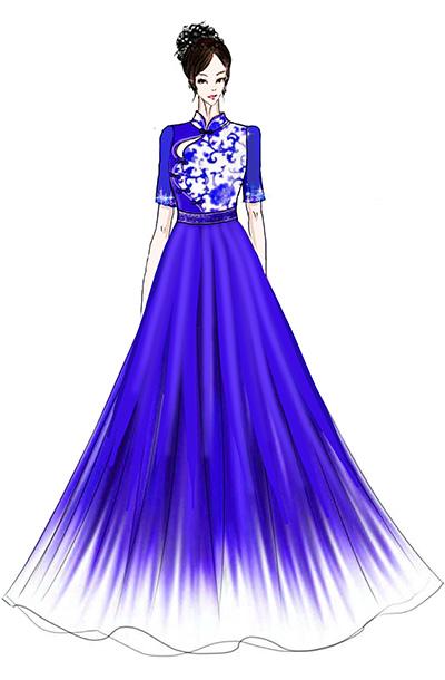 合唱演出服装中式合唱礼服设计,大型团体合唱服中式合唱礼服定制