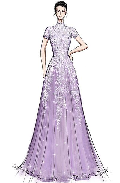 女钢琴师舞台表演服装设计纱织垂直舞台演出服装设计与定制