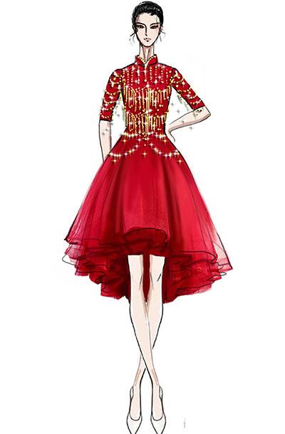 音乐会演出礼服定制新款女钢琴师演出礼服设计!