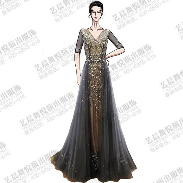 女钢琴师演出服装纱织点钻演出礼服设计与定制!