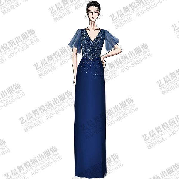 大型舞台演出服装设计钢琴师礼服设计,蓝色V领钢琴师礼服设计!