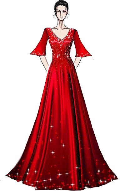 红色舞台演出礼服设计鸡心领舞台钢琴师演出礼服设计!