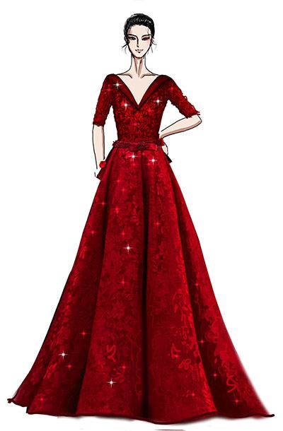 大型舞台演出服装蕾丝红色V领钢琴师舞台演出礼服设计与定制!