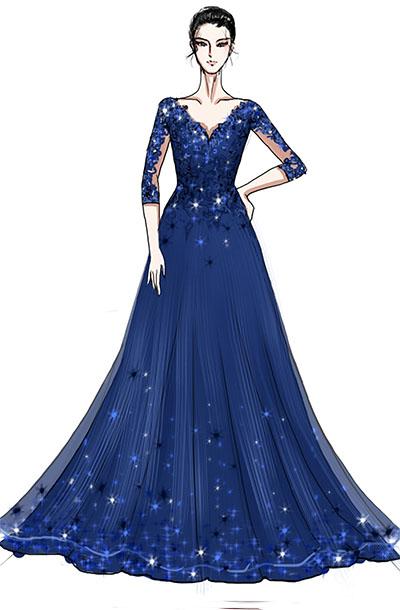 舞台演出服装设计钢琴师蓝色蕾丝V领演出礼服设计与定制!