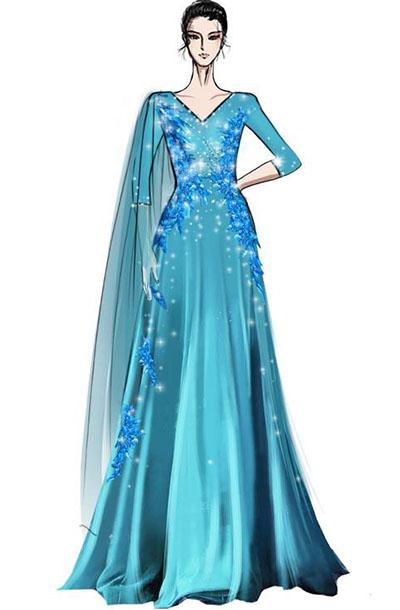 蓝色经典舞台演出礼服设计女款舞台乐器室表演服装设计!