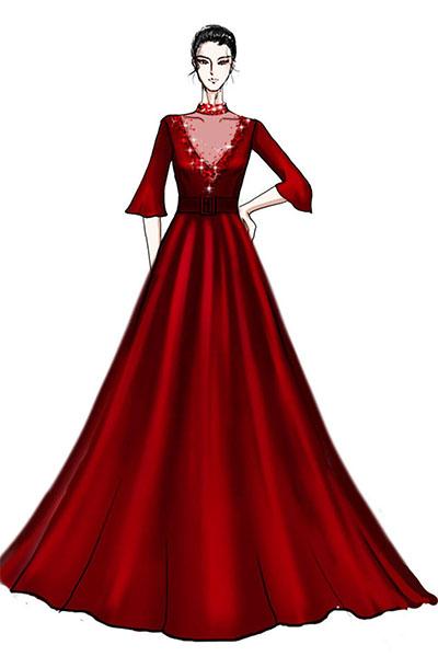 大红色长款音乐会演出礼服设计与定制舞台礼服表演服装设计与定制款式!