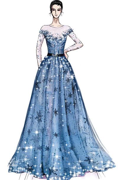 大型舞台演出服装设计墨蓝色器乐师演出礼服设计与定制!