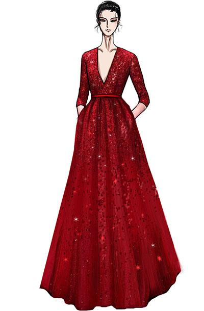 大型音乐会V领舞台演出服装设计与定制款式纱织蕾丝舞台礼服设计