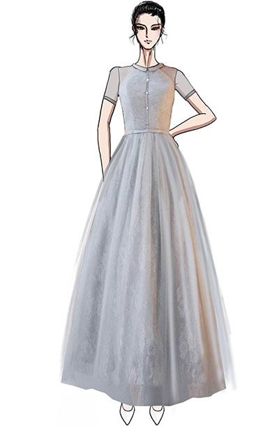 灰色中式舞台演出礼服设计器乐舞台表演服装设计!