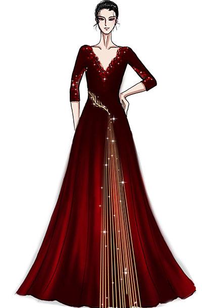音乐会镶边女士礼服设计与定制大红色绒布演出礼服定制!