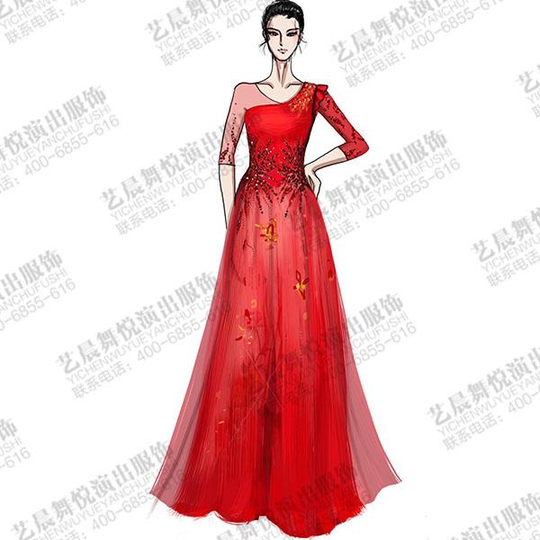 大型舞台演出服装设计与定制器乐师双层纱演出礼服设计