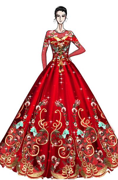 中式刺绣女高音舞台演出服装设计与定制款式!