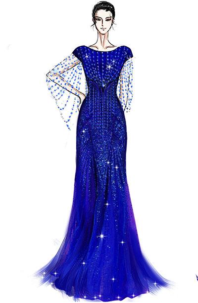 蓝色纱织舞台演出服装设计与定制女声乐师演出服装定制!