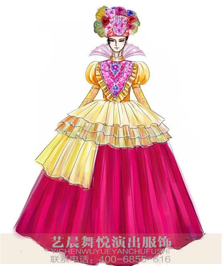 舞台花灯演出服装设计与定制蝴蝶花灯表演服装设计!