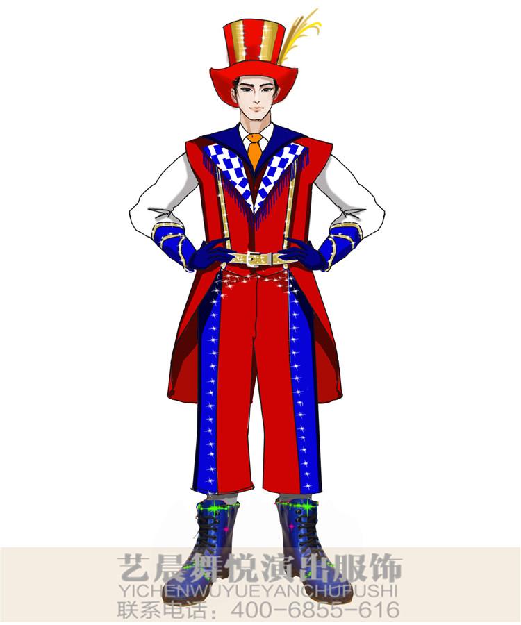 大型舞台演出服装小丑表演服装设计图稿,景区小丑演出服装设计