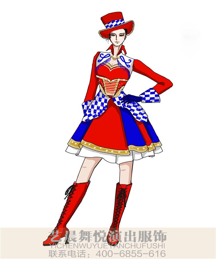 女款马戏团魔术表演服装设计新款景区演出服装小丑舞台表演服装设计