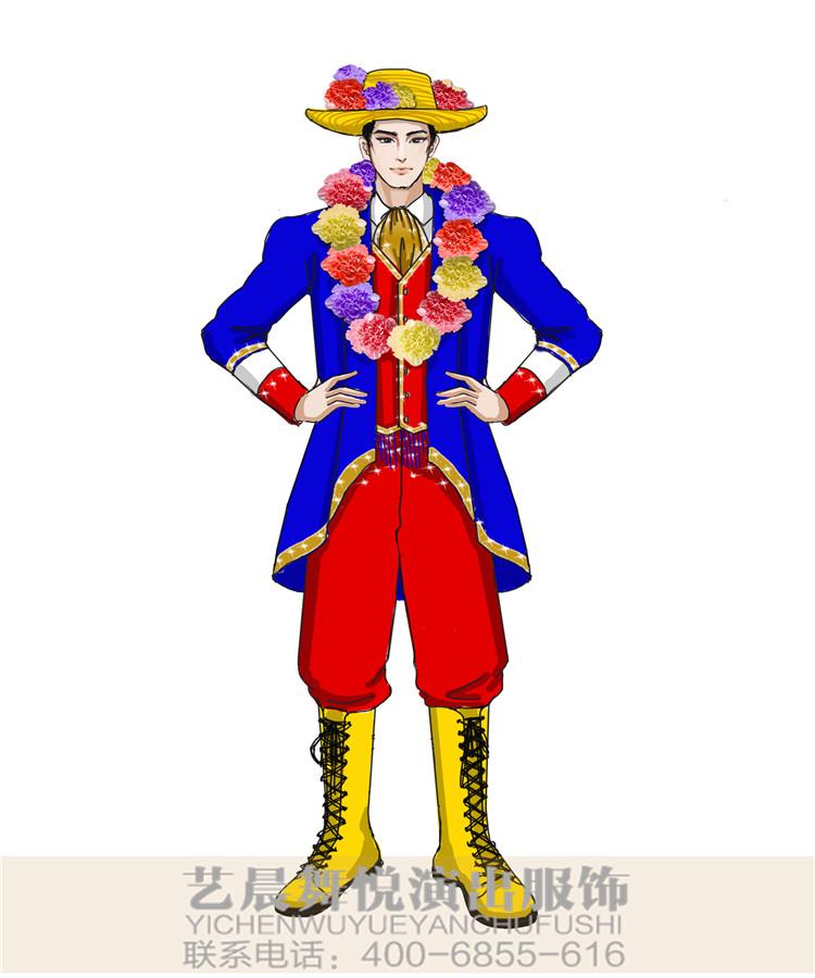 舞台演出服装小丑表演服装景区游园小丑演出服装设计