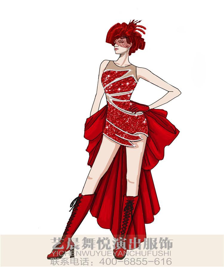 巡游演出服装设计红色装扮裙威尼斯狂欢节演出服装设计!