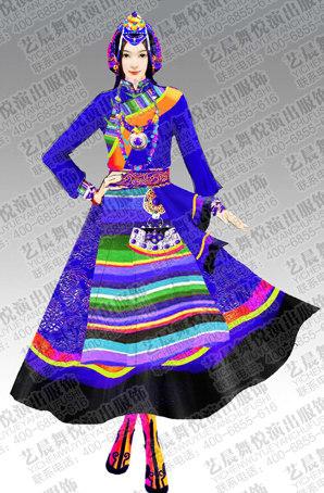 藏族舞蹈演出服定做民族舞服设计藏族舞蹈服装定制厂家