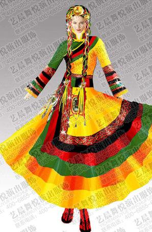 藏族舞蹈服装民族演出服定制藏族舞蹈服装定制厂家