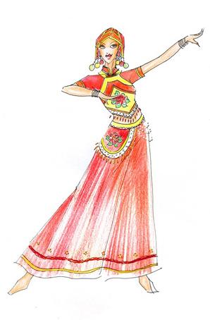 傣族演出服装设计民族服装定做