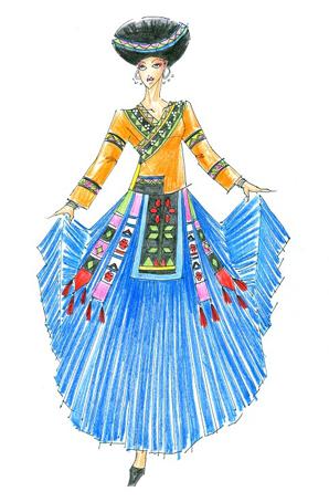 少数民族舞台演出服饰定制傣族舞服设计