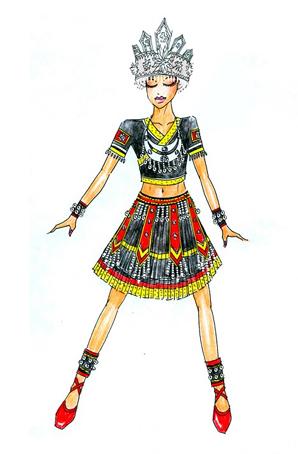 苗族表演服饰个性定制民族演出服设计