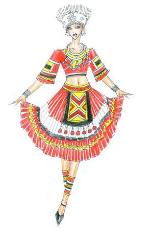 苗族原创服饰定制少数民族舞蹈服装设计