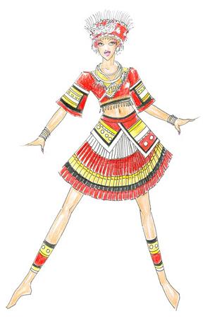 苗族舞蹈演出服装订制少数民族舞蹈演出服装设计