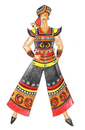 傈僳族舞台服装定制少数民族舞蹈演出服装设计