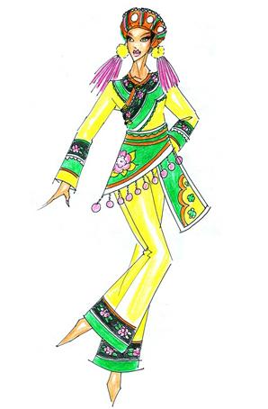 哈尼族服装设计少数民族舞蹈服装订做