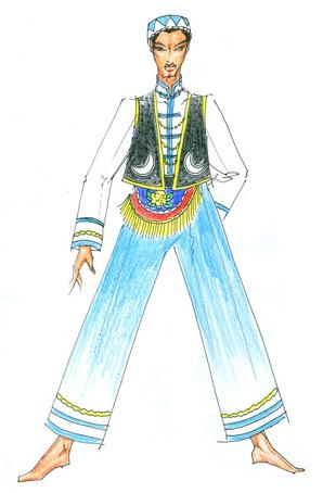 回族舞蹈服装定制少数民族舞台演出服设计