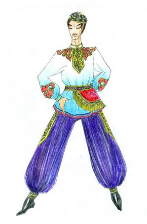 回族男士舞台舞蹈服装定制少数民族舞蹈演出服设计