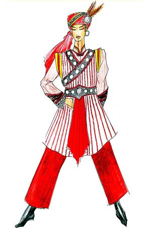 傈僳族演出服饰定制少数民族舞蹈服装设计